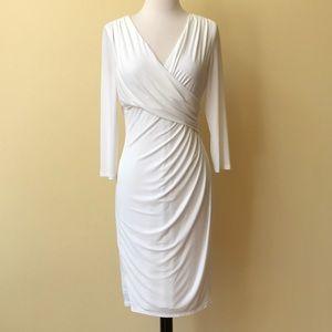 Ralph Lauren White Wrap Stretchy 3/4 Sleeve Dress